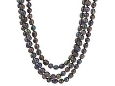 """7-9mm Black Cultured Freshwater Pearl Rhodium Over Silver 18"""" Adjustable Multi-strand Necklace"""