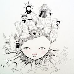 "Saatchi Art Artist ivana flores; Drawing, ""girl with hodoos"" #art"