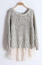 Beige Long Sleeve Contrast Chiffon Pullover Sweater $33.71
