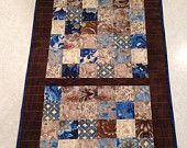 Beautiful Blue, Chocolate, and Cream Patchwork Quilted Table Runner by CreationsbyWeezie on Etsy, $35.00 USD