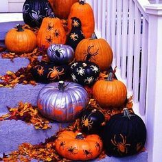 Halloween pumpkin assortment for your front porch or mantle