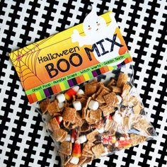 halloween boo mix with printable: ghost poop=marshmallows   monster scabs=golden grahams  witch's warts= chocolate chips  goblin teeth=candy corns