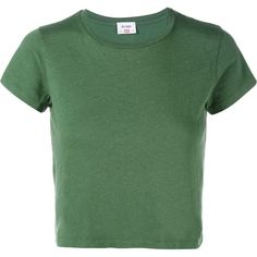 Re/Done Hanes Boxy Cropped Short Sleeve T-Shirt ($86) ❤ liked on Polyvore featuring tops, t-shirts, green, shirts, tees, crop tee, crew neck tee, green tee, green top and green crop top