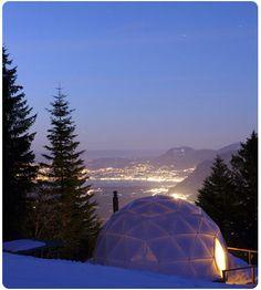 The Whitepod Hotel, in the Swiss Alps, Switzerland.