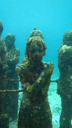 Statues at the underwater museum in Cancun.  One of the coolest dive sites we've seen.