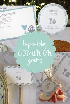 Imprimibles gratis personalizables para Primera Comunión Boys First Communion, First Communion Favors, Première Communion, Printable Labels, Printable Designs, Free Printables, Decoration Communion, Baptism Centerpieces, Circle Labels