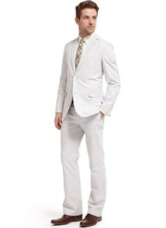 Grey and white seersucker suit, The Spanish Moss by Bonobos, $410