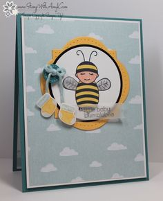 I used that cute little Baby Bumblebee stamp from Stampin' Up! to create my card to share today. My card design was inspired by The Paper Players #223. I started by adhering a panel from the Sweet ...
