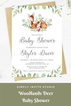 This Woodlands Deer Baby Shower Invitation is perfect for a little girls' baby shower. This easy to edit baby shower template can be combined with a matching books for baby card, diaper raffle card and thank you card. It will be a great addition to your Woodlands Deer Theme baby shower. Baby Shower Templates, Baby Shower Invitation Templates, Diy Invitations, Invite, Deer Baby Showers, Boho Theme, Baby Boy Or Girl, Diaper Raffle, Woodland Baby