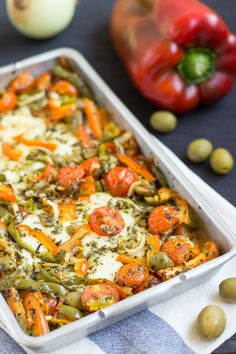 Melted Feta And Veggie Bake. Ready in 30 minutes | #dinner #vegetarian | hurrythefoodup.com
