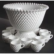 Fenton Hobnail Milk Glass 14 Piece Punch Bowl Set #3712