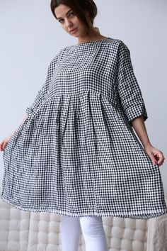 Veritecoeur Gingham Linen Tunic Big Girl Clothes, Mori Girl Fashion, Western Wear For Women, Moda Casual, Linen Tunic, Blouse Styles, Couture, Pretty Outfits, Dress Patterns