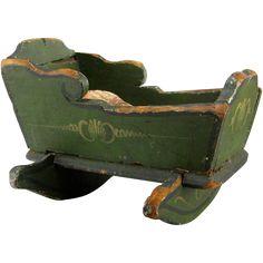 Primitive Doll Baby Cradle 19thC Antique Apple Green Paint