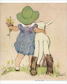 Inch Print (other products available) - Charming back view of a little girl in a checked dress and green hat, her small stature accentuated by the size of the lamb she stands next to. - Image supplied by Mary Evans Prints Online - print made in the UK Vintage Children's Books, Vintage Art, Nostalgic Images, Free Motion Embroidery, Cute Images, Children's Book Illustration, Vintage Prints, Illustrators, Poster Prints