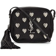 Saint Laurent Monogram Blogger Heart Crossbody Bag (3.685 BRL) ❤ liked on Polyvore featuring bags, handbags, shoulder bags, black, monogram purse, shoulder strap purses, yves saint laurent crossbody, shoulder strap handbags and heart purse