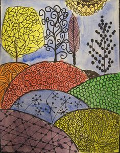 Angela Anderson Art Blog: Zentangle Pen & Ink Watercolor Paintings zentangle watercolor, ages 7-10