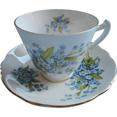 Forget Me Nots English Bone China Cup Saucer Mismatch Regency Crown Staffordshire