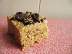 Single Lady Malted PB Rice Krispie Treat // Take a Megabite, i would sub hershey choc. spread for the pb.
