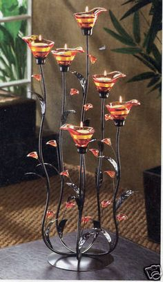 Tiffany Amber Stained Glass Candelabra Candleholder