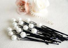 white glass pearl hair pin wedding bridal hair pin by sestras
