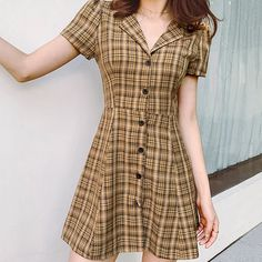 Material: Polyester Decoration: Button Waistline: Natural Silhouette: Fit and Flare Sleeve Length(cm): Short Pattern Type: Plaid Sleeve Style: REGULAR Season: Summer Style: vintage Neckline: Turn-down Collar Dresses Length: Above Knee, Mini Tumblr Outfits, Grunge Outfits, Teen Fashion Outfits, Retro Outfits, Cute Outfits, Grunge Style, Style Hipster, Soft Grunge, Cute Dresses