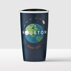 Houston Double Wall Traveler. A double-wall ceramic mug showcases Houston as the historic Mission Control for the national space program.