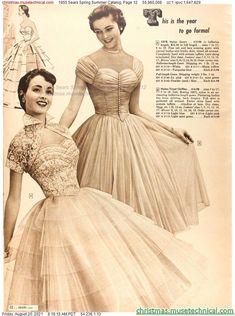 1955 Sears Spring Summer Catalog, Page 12 - Christmas Catalogs & Holiday Wishbooks Fifties Fashion, 50 Fashion, Fashion History, Vintage Fashion, Fifties Style, Vintage Dresses, Vintage Outfits, 50s Dresses, Vintage Clothing