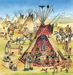 A chief and his family inside their tipi.