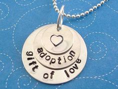 Adoption Necklace Sterling Silver Gift of Love Layered Hand Stamped hopeofmyheart Etsy shop