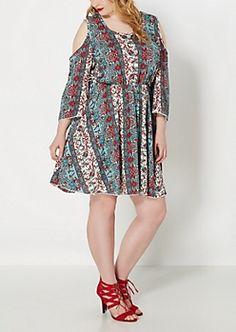 Plus Turquoise Boho Cold Shoulder Dress