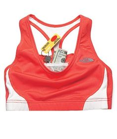 The North Face Stow-n-Go Sports Bra  Two interior compartments are lined to securely and comfortably hold keys, a gym card, and cash.  NEEEDD!