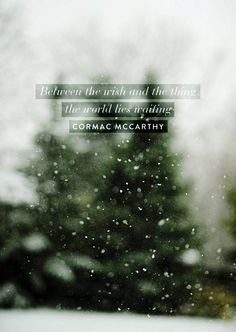 Between the wish and the thing, the world lies waiting. --Cormac McCarthy. So good.
