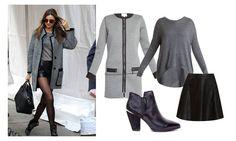 miranda Kerr con total look gris. Abrigo de Sinty, falda y jersey @veromodafashion y botines de Alma en Pena.