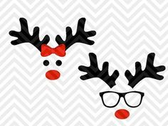 Reindeer Christmas Girl Boy Bow Glasses Cute SVG and DXF Cut File • Png • Download File • Cricut • Silhouette By Kristin Amanda Designs