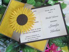 Sunny Sunflower pocket bridal shower invitation by EmptyNestCards