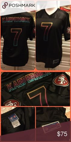 NFL 49ers Kaepernick Jersey Authentic NFL Kaepernick (#7) jersey.  Size Large (womens). But this fits like an extra large. (There is another, white, 49er Kaepernick jersey for sale in my closet, but it is an extra large.  This black jersey fits just like that one.) I only wore it once and it's been washed and put away.  I no longer wear it since I got my Montana jerseys. NFL Pro-Line Tops