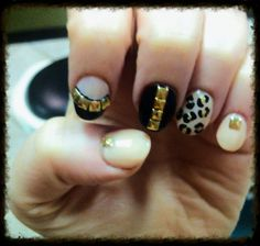 Acrylic OPI nude and black with hold studs and animal print
