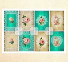 ACEO Gift Tags Printable Images Flowers Digital Collage Sheets by ArtRooster on Etsy