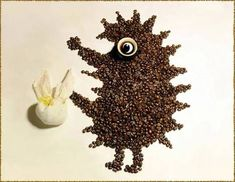 Food art with coffee beans by Irina Nikitina l #photography #cartooncharacters