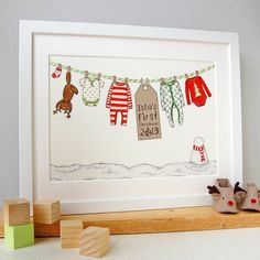 Personalised Art Print  Baby's First Christmas by claraandmacy, £17.00