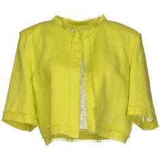 Angela Mele Milano Blazer ($83) ❤ liked on Polyvore featuring outerwear, jackets, blazers, light green, linen blazer, yellow blazer, single breasted jacket, linen jacket and yellow jacket
