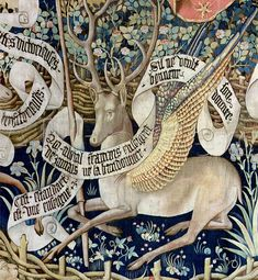 Medieval tapestry of a winged deer, detail (Tapisserie des cerfs ailés) Medieval Tapestry, Medieval Books, Medieval Manuscript, Medieval Art, Mythological Creatures, Mythical Creatures, Illustrations, Illustration Art, Inchies