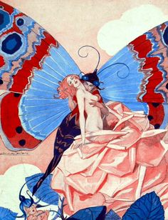 """maudelynn: """"The Rose and Butterfly ~ by Jacques Leclerc for La Vie Parisienne c.1929 """""""
