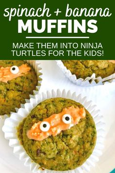 These spinach banana muffins will help boost your kiddo's veggie intake. They're an easy vegetable muffin recipe for kids, and great for packing in their lunchbox for school lunch. Plus, you can make them look like ninja turtle muffins - how fun is that?!