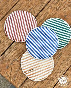 """Teller """"Stipes"""" Set 4 tlg. Plates, Summer, Licence Plates, Dishes, Griddles, Dish, Plate"""