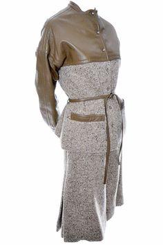 Vintage Bonnie Cashin Sills Leather Tweed Skirt Jacket Suit 8