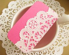 ON SALE - Vintage Doilies Gift Tags/Mini Note Card in PINK  - Set of 10