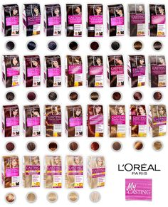 L'oreal Paris Casting Creme Gloss Hair Color Different Shades More Glossy Color Your Hair, Hair Dye Colors, Loreal Casting Creme Gloss, Hair Color Swatches, Just For Men Colors, Professional Hair Color, Loreal Hair, Hair Color Shades, Hair Colour