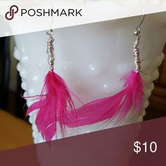 Wire wrapped feather earrings A handmade item, purchased for one event.  Not used since.  Would probably work well for a tween or someone who wants something different.  A bit edgy, and would perfectly match the hot pink heels in my closet! Jewelry Earrings