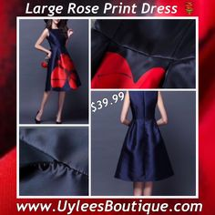 "This is s lovely vintage look dress. It is a navy blue dress with a large red rose printed on front. Made of polyester and spandex, has a satin look, empire waist, knee length, and sleeveless.     Available in sizes Small to X-Large with the following measurements:    Small: 39.37"" Length, 32.28"" Bust, 27.55"" Waist    Medium: 39.76"" Length, 33.85"" Bust, 29.13"" Waist    Large: 40.15"" Length, 35.43"" Bust, 30.70"" Waist    X-Large: 49.55"" Length, 37.00"" Bust, 32.28"" Waist    **Please Note** This…"